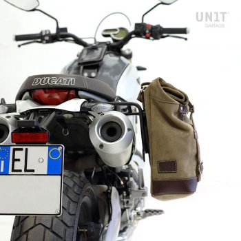 Waxed Suede Side Pannier + Subframe Ducati Scrambler 1100