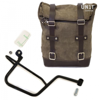 Waxed Suede Side Pannier + Subframe Guzzi V7 DX