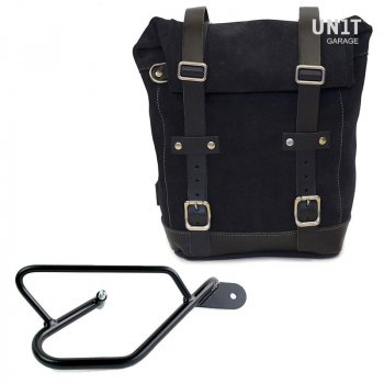 Waxed Suede Side Pannier + Right Subframe Guzzi V9 Bobber