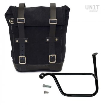 Waxed Suede Side Pannier + Left Subframe Triumph Speed Twin
