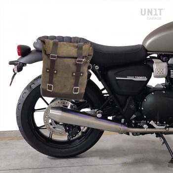 Waxed Suede Side Pannier + Right Subframe Triumph Street Twin 900 (2016 until now)