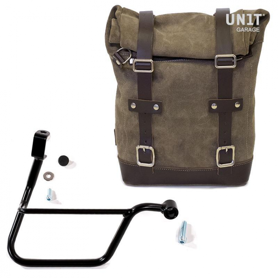 Waxed Suede Side Pannier + Right Subframe Triumph T100-T120 (2017<)