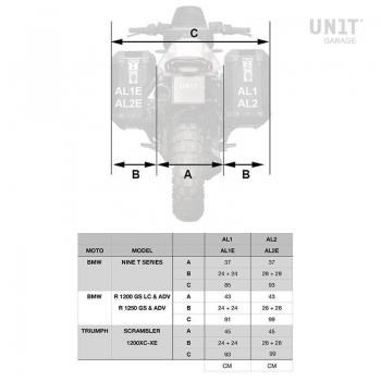 Pair of aluminium Panniers Atlas 40L+34L with Inox Subframe NineT-Series