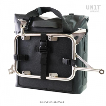 Two Khali side panniers in TPU 35L - 45L with Inox Subframe NineT-Series