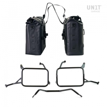 Two Khali side panniers in TPU 35L - 45L with Inox Subframe Yamaha