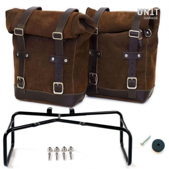Two Waxed suede Side Panniers + Double Subframe NineT